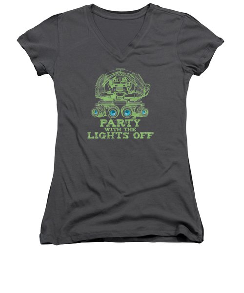 Women's V-Neck featuring the mixed media Party With The Lights Off by TortureLord Art