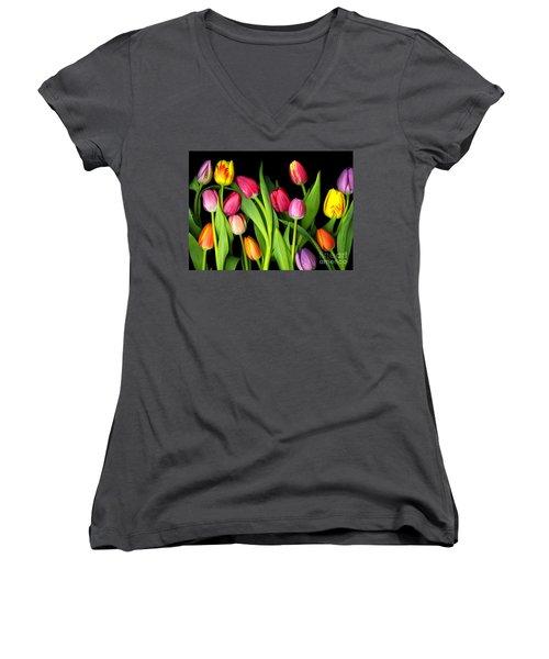 Tulips Women's V-Neck T-Shirt (Junior Cut) by Christian Slanec