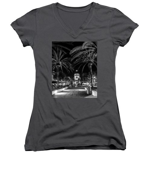 Women's V-Neck T-Shirt (Junior Cut) featuring the photograph Pasadena City Hall After Dark In Black And White by Randall Nyhof