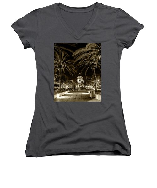 Women's V-Neck T-Shirt (Junior Cut) featuring the photograph Pasadena City Hall After Dark In Sepia Tone by Randall Nyhof