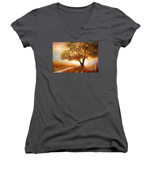 Women's V-Neck T-Shirt (Junior Cut) featuring the painting Paso Robles Golden Oak by Michael Rock