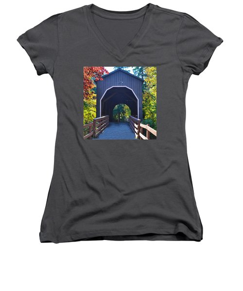 Pass Creek Covered Bridge Women's V-Neck T-Shirt (Junior Cut) by Ansel Price