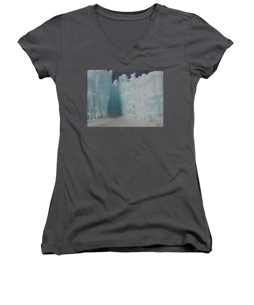 Passageway In The Ice Castle Women's V-Neck T-Shirt (Junior Cut) by Catherine Gagne