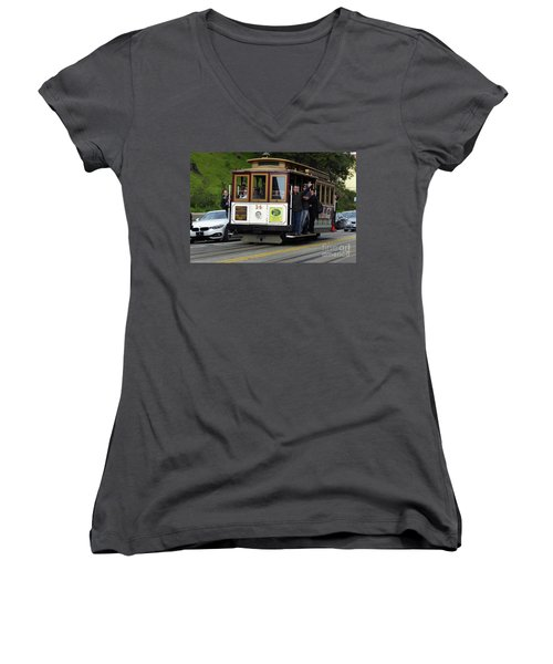 Women's V-Neck T-Shirt (Junior Cut) featuring the photograph Passenger Waves From A Cable Car by Steven Spak