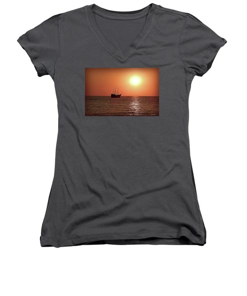 Women's V-Neck T-Shirt (Junior Cut) featuring the photograph Passing By In Calm Waters by Joan  Minchak