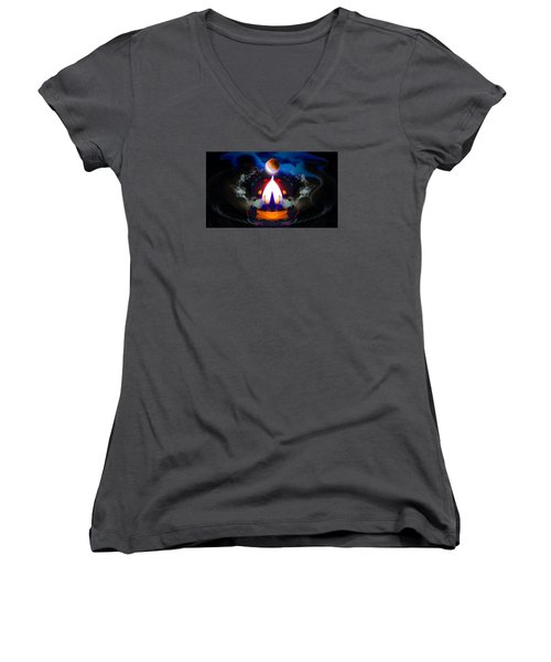 Passion Eclipsed Women's V-Neck T-Shirt (Junior Cut) by Glenn Feron