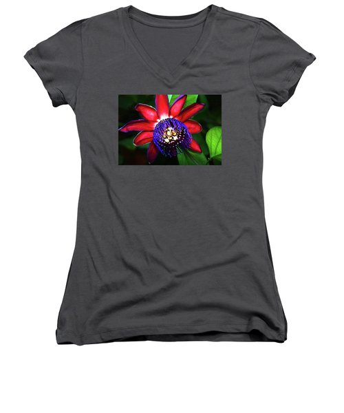Women's V-Neck T-Shirt (Junior Cut) featuring the photograph Passion Flower by Anthony Jones