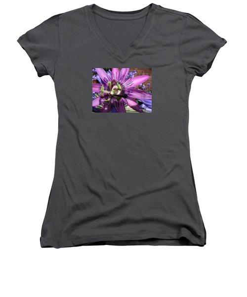 Women's V-Neck T-Shirt (Junior Cut) featuring the photograph Passion Flower by Jolanta Anna Karolska
