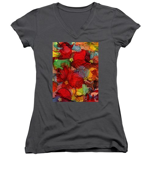 Passion Of Flowers Women's V-Neck (Athletic Fit)