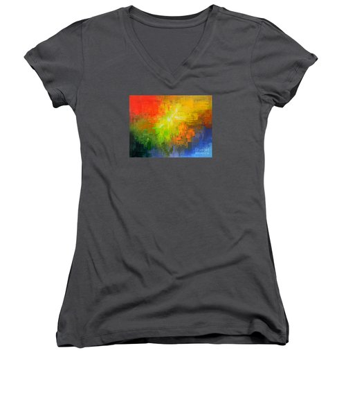 Women's V-Neck T-Shirt (Junior Cut) featuring the painting Passionate Plumage by Tatiana Iliina