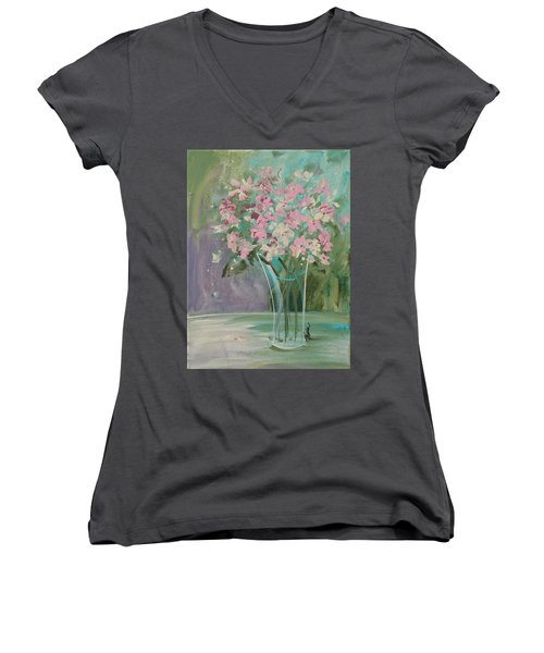 Pastel Blooms Women's V-Neck (Athletic Fit)