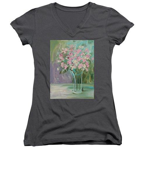 Pastel Blooms Women's V-Neck T-Shirt