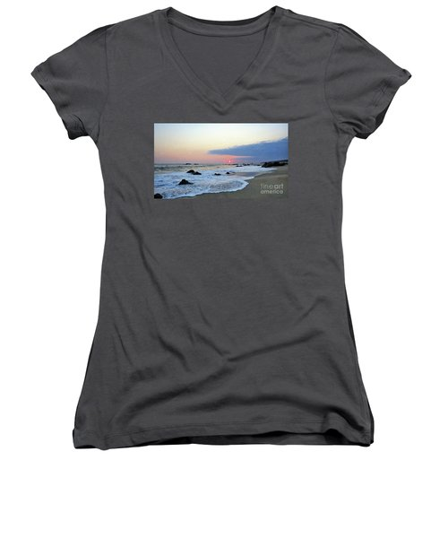 Women's V-Neck T-Shirt (Junior Cut) featuring the photograph Pastel Blue by Victor K