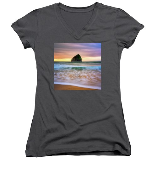 Women's V-Neck T-Shirt (Junior Cut) featuring the photograph Pastel Morning At Kiwanda by Darren White
