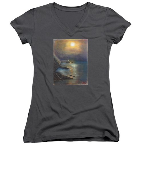 Pastel Msc 002 Women's V-Neck T-Shirt (Junior Cut) by Mario Sergio Calzi