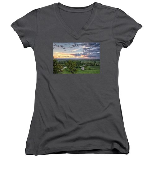 Women's V-Neck featuring the photograph Pastel Spring Morning by Fiskr Larsen