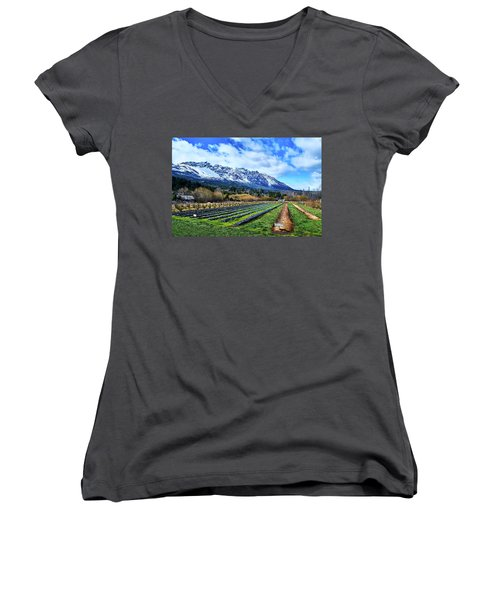Landscape With Mountains And Farmlands In The Argentine Patagonia Women's V-Neck