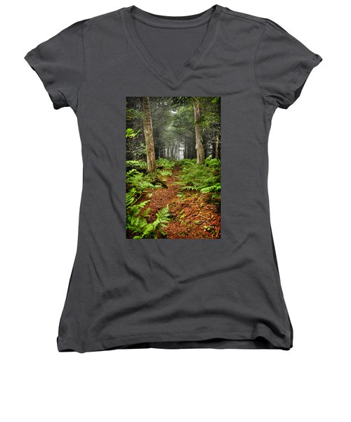 Path In The Ferns Women's V-Neck (Athletic Fit)