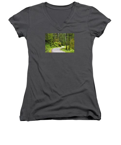 Women's V-Neck T-Shirt (Junior Cut) featuring the photograph Path In The Forest by Yuri Santin