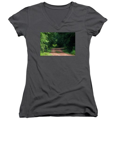 Women's V-Neck T-Shirt (Junior Cut) featuring the photograph Path Of Light Horizontal by Shelby Young