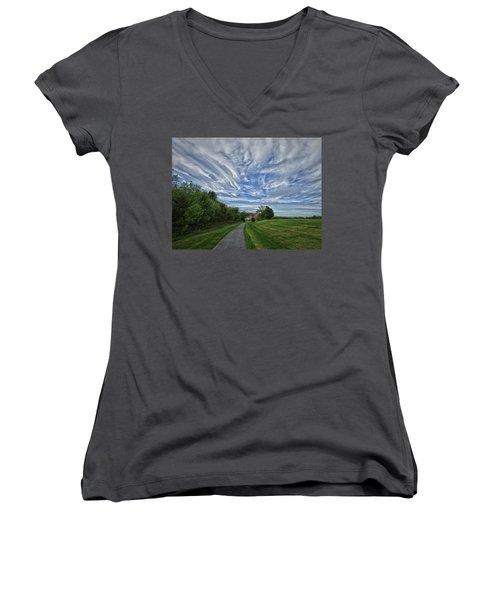 Women's V-Neck T-Shirt (Junior Cut) featuring the photograph Path by Robert Geary
