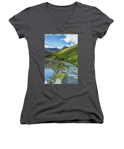 Path To Snowdon Women's V-Neck T-Shirt (Junior Cut) by Ian Mitchell