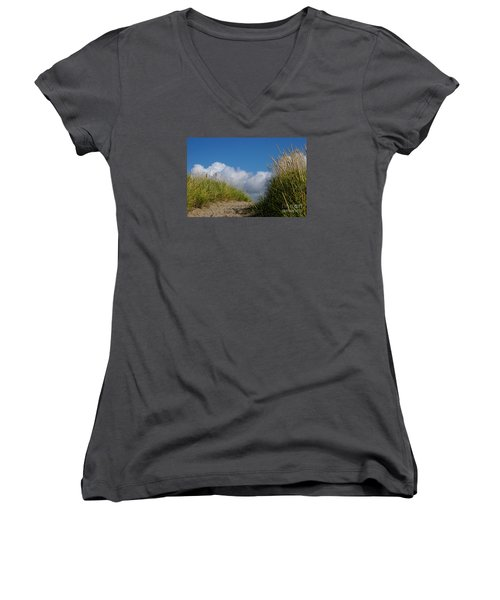 Women's V-Neck T-Shirt (Junior Cut) featuring the photograph Path To The Beach by Jeanette French