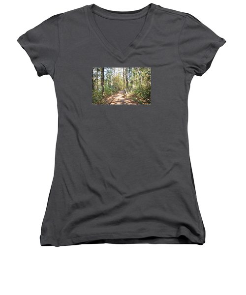 Pathway In The Woods Women's V-Neck T-Shirt (Junior Cut) by Rena Trepanier