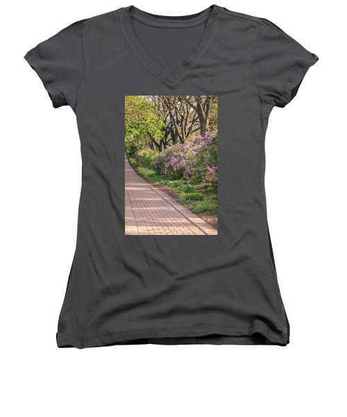 Pathway To Beauty In Lombard Women's V-Neck T-Shirt