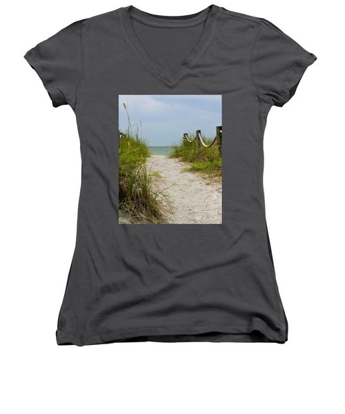 Women's V-Neck T-Shirt (Junior Cut) featuring the photograph Pathway To The Beach by Carol  Bradley