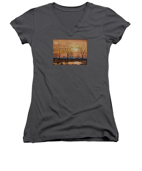 Patomac River Sunset Women's V-Neck T-Shirt (Junior Cut) by AnnaJo Vahle