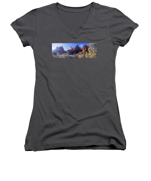 Women's V-Neck T-Shirt (Junior Cut) featuring the photograph Patriarchs by Chad Dutson