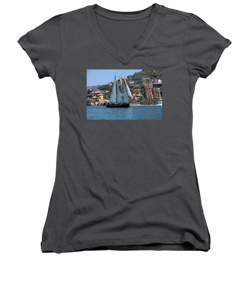 Women's V-Neck T-Shirt (Junior Cut) featuring the photograph Patricia Belle 01 by Jim Walls PhotoArtist