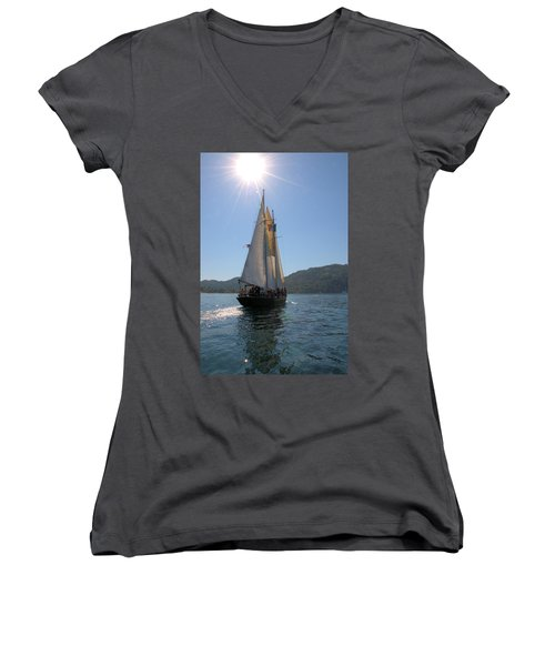 Women's V-Neck T-Shirt (Junior Cut) featuring the photograph Patricia Belle 03 by Jim Walls PhotoArtist