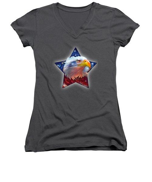 Women's V-Neck T-Shirt (Junior Cut) featuring the mixed media Patriotic Eagle Star by Carol Cavalaris
