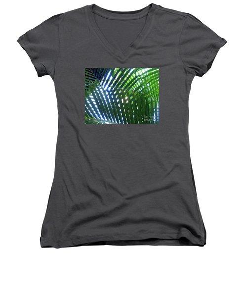 Patterned Palms Women's V-Neck
