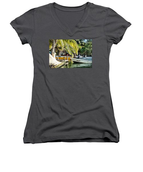 Women's V-Neck T-Shirt (Junior Cut) featuring the photograph Patty Lou by Lawrence Burry