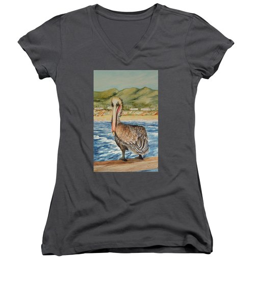 Women's V-Neck T-Shirt (Junior Cut) featuring the painting Paula's Pelican by Katherine Young-Beck