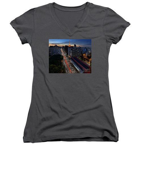 Paulista Avenue And Masp At Dusk - Sao Paulo - Brazil Women's V-Neck (Athletic Fit)