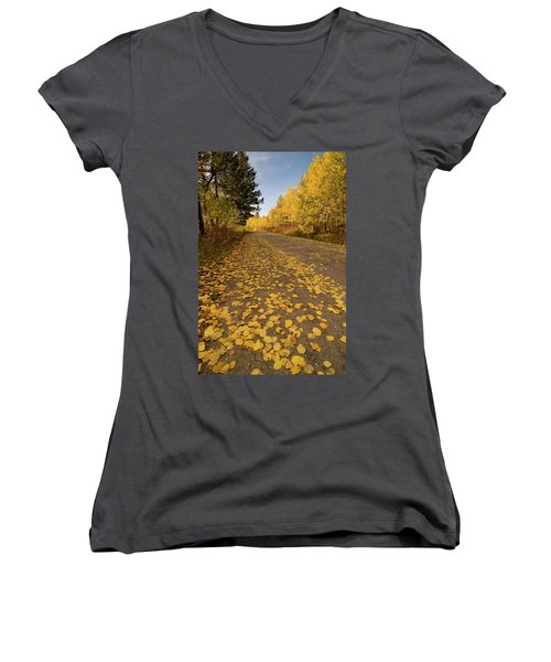 Women's V-Neck T-Shirt (Junior Cut) featuring the photograph Paved In Gold by Steve Stuller
