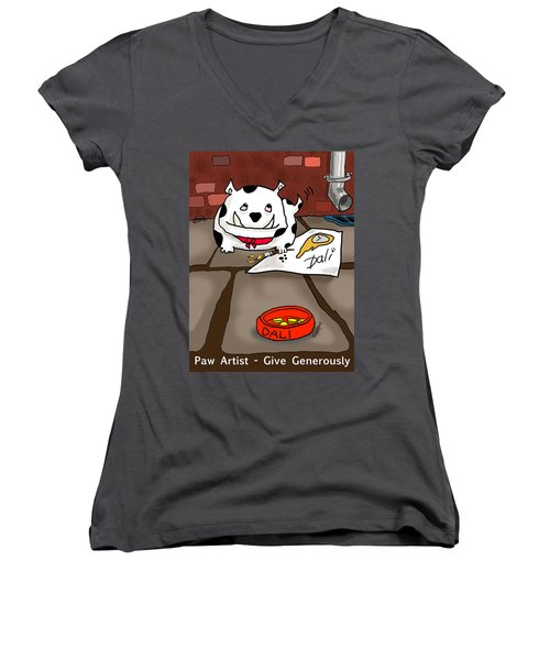 Paw Artist Give Generously Women's V-Neck (Athletic Fit)