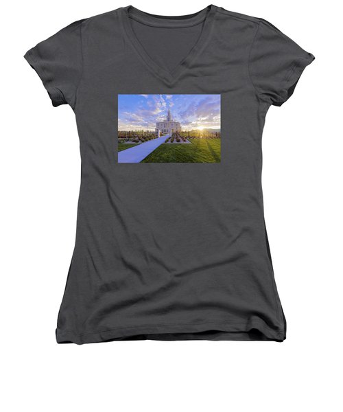 Women's V-Neck T-Shirt (Junior Cut) featuring the photograph Payson Temple I by Chad Dutson