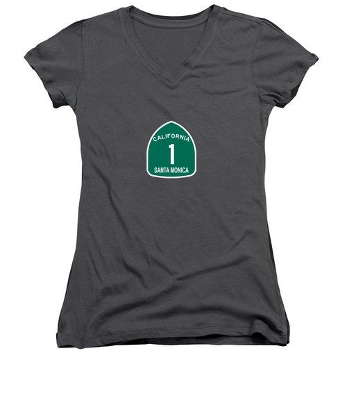 Pch 1 Santa Monica Women's V-Neck T-Shirt (Junior Cut) by Brian's T-shirts