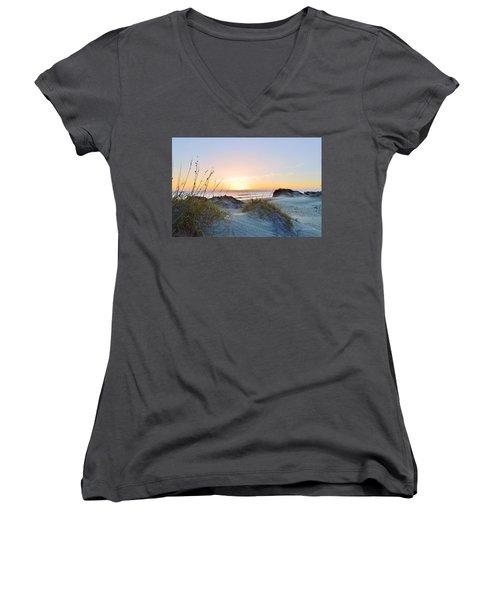 Pea Island Sunrise 12/28/16 Women's V-Neck