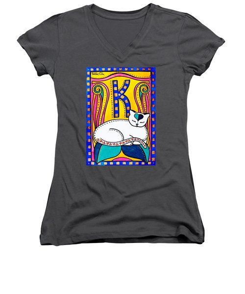 Peace And Love - Cat Art By Dora Hathazi Mendes Women's V-Neck T-Shirt (Junior Cut) by Dora Hathazi Mendes