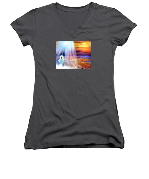 Peace Be With You Women's V-Neck (Athletic Fit)
