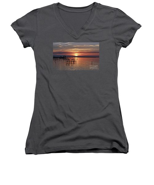 Peace Be With You Sunset Women's V-Neck
