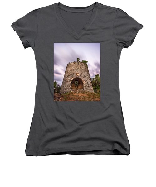 Women's V-Neck T-Shirt (Junior Cut) featuring the photograph Peace Hill Sugar Mill by Adam Romanowicz