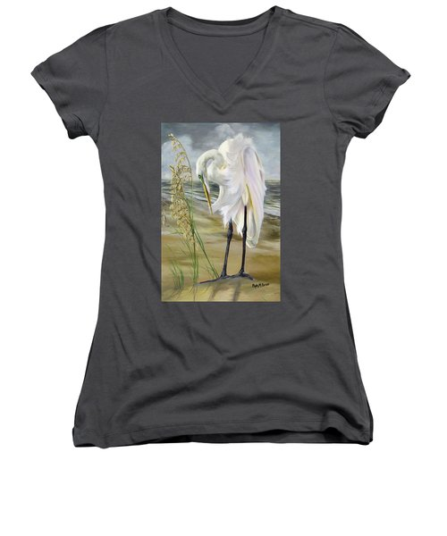 Peace In The Midst Of The Storm Women's V-Neck T-Shirt (Junior Cut) by Phyllis Beiser