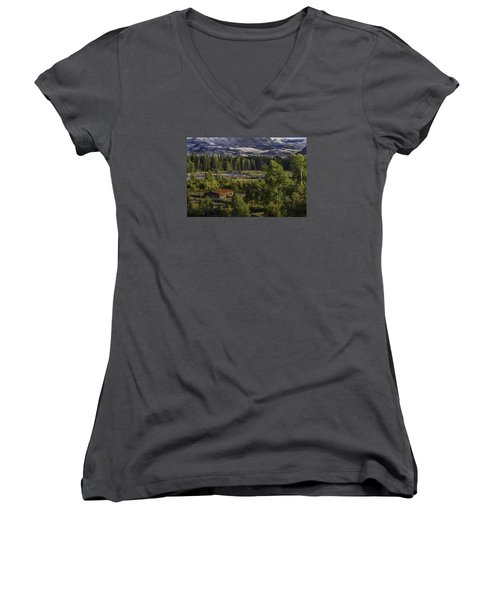 Peace In The Valley Women's V-Neck T-Shirt (Junior Cut) by Elizabeth Eldridge